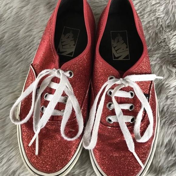 3b62890919 Vans Red Sparkle Glitter Sneaker Skate Shoes 6.5. M 5a8399b1fcdc31d72e58a4d2